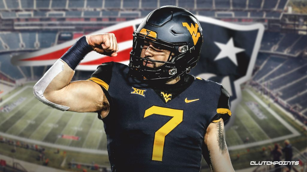 Will Grier, WVU quarterback with Gilette Stadium in the background.