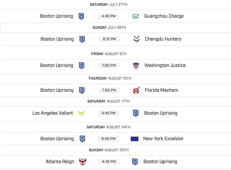 Boston Stage 4 Schedule